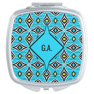 Monogram modern chic tribal aztec design compact mirrors