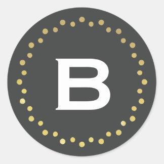 Monogram Modern Circle Dots Sticker Label / Gold