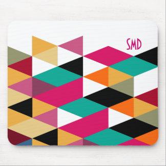 Monogram Modern Colorful Geometric Pattern Mouse Pad