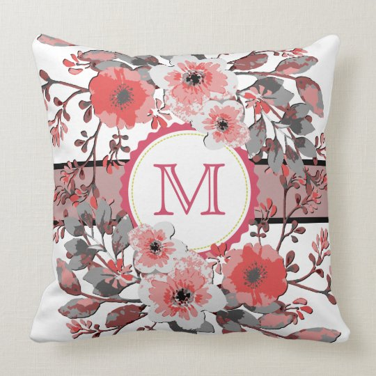 Monogram Modern Coral Floral Vintage Throw Pillow