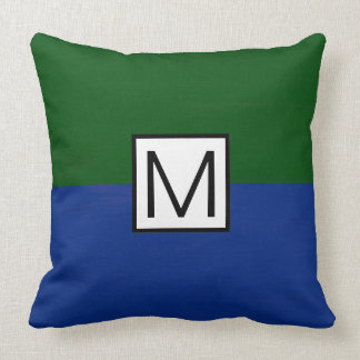 Monogram Modern Dark Blue and Green Elegant Throw Pillow