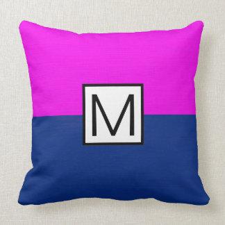 Monogram Modern Dark Blue and Magenta Elegant Throw Pillow