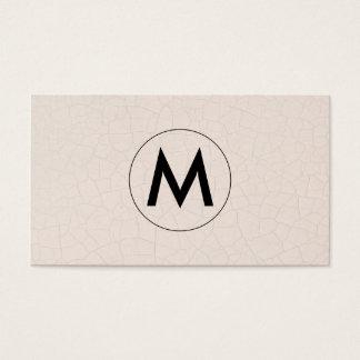 Monogram Modern Fractured Pattern Beige Business Card