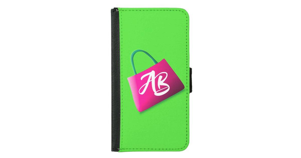 Monogram Modern Fun Bright Green Pink Samsung Galaxy Wallet Case Zazzle Ca