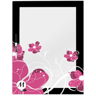 Monogram Modern Girly Pink and White Flowers Dry-Erase Whiteboards