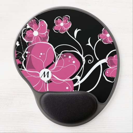 Monogram Modern Girly Pink and White Flowers Gel Mouse Mats