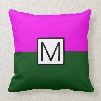 Monogram Modern Green and Magenta Elegant Throw Pillow