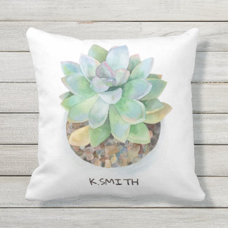 Monogram. Modern Hand Drawn Watercolor Succulent. Outdoor Pillow