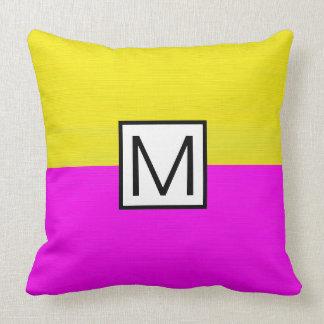 Monogram Modern Magenta and Yellow Elegant Throw Pillow