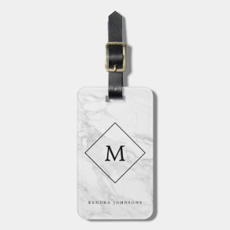 Monogram modern marble luggage tag