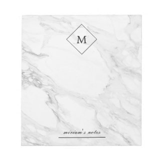 Monogram modern marble notepad