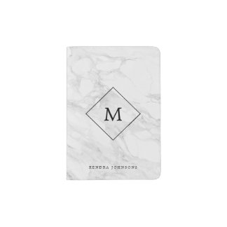 Monogram modern marble passport holder