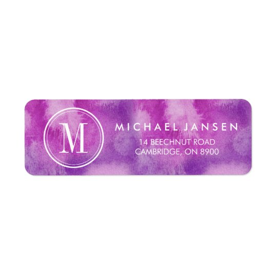 Monogram Modern Minimalist Purple Watercolor Label Return Address Label