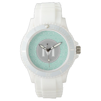 Monogram Modern Mint Greek Key Pattern Watch