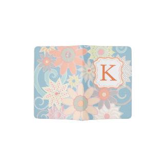 Monogram Modern Pastel Flowers Passport Holder