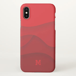 Monogram. Modern Red Abstract Art. iPhone X Case