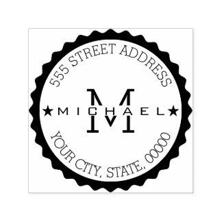Monogram Modern Script Return Address Self-inking Stamp
