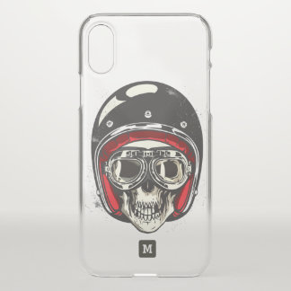 Monogram. Modern Skull with Black Biker Helmet. iPhone X Case