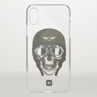 Monogram. Modern Skull with Green Military Helmet. iPhone X Case