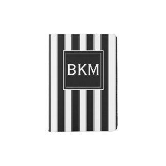 Monogram Modern Stripes in Black and White Passport Holder