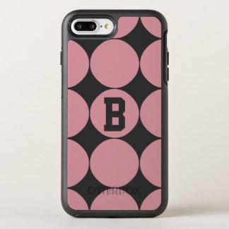 Monogram Modern Stylish Pink Polka Dot OtterBox Symmetry iPhone 7 Plus Case