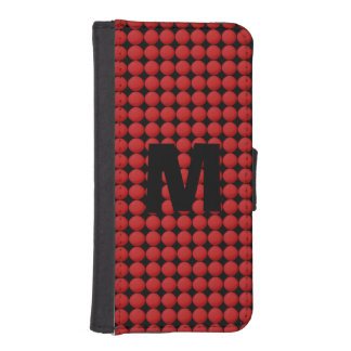 Monogram Modern Stylish Red Polka Dot iPhone SE/5/5s Wallet Case