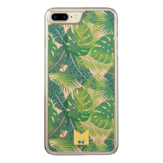Monogram. Modern Tropical Palm Pattern Carved iPhone 8 Plus/7 Plus Case
