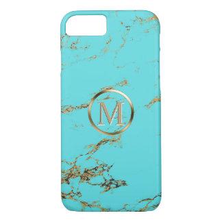 Monogram Modern Turquoise & Gold iPhone 8/7 Case