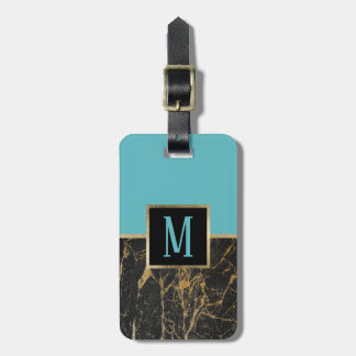 Monogram Modern Turquoise & Trendy Black Marble Luggage Tag