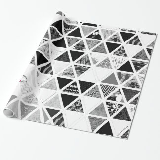Monogram Monochrome Floral Triangles Patchwork Wrapping Paper