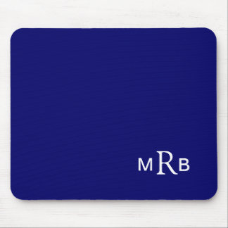 Monogram mouse pad with your initials (blue)