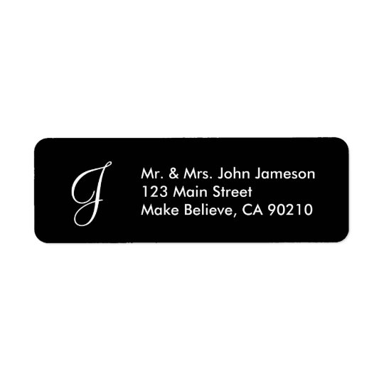 Monogram Mr & Mrs - Black Address Label Template