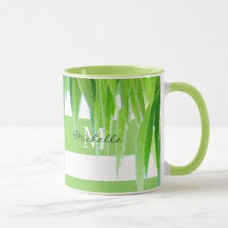 Monogram Mug | Modern Green White Stripes & Leaves