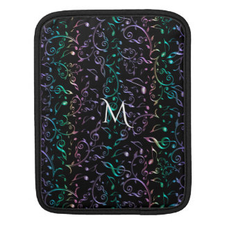 Monogram Music Notes On Black Or Your Color Choice iPad Sleeve