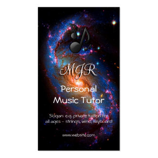 Monogram Music Tutor on Spiral Galaxy space image Double-Sided Standard Business Cards (Pack Of 100)