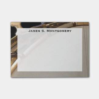Monogram Music White and Gold Banjo Post-it Notes