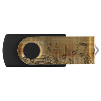 Monogram Musical Notes USB Swivel Flash Drive