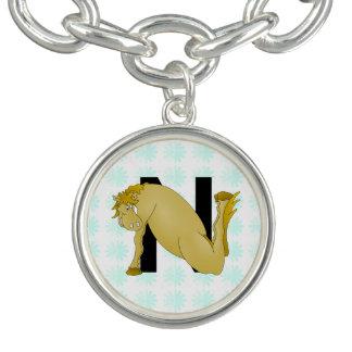 Monogram N Cartoon Pony Personalised Charm Bracelets
