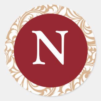 Monogram N Cranberry Color Design Designer Wedding Classic Round Sticker