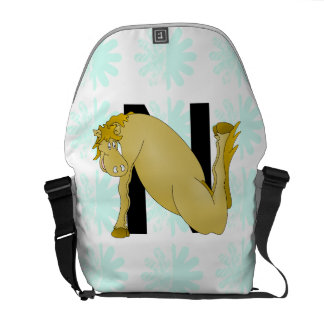 Monogram N Funny Pony Personalised Courier Bag