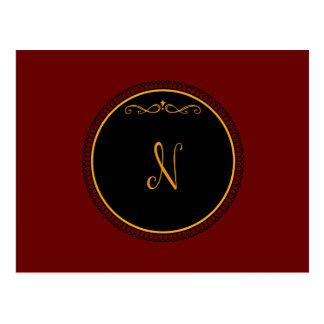 Monogram 'N' gold on black Postcard