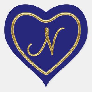 Monogram N in 3D gold Heart Sticker