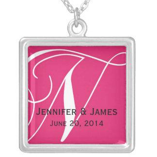 Monogram N Names Date Pink Wedding Necklaces