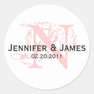 Monogram N Save the Date Wedding Sticker