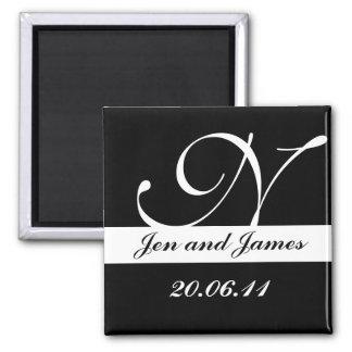 Monogram N Wedding Black & White Save the Date Refrigerator Magnet