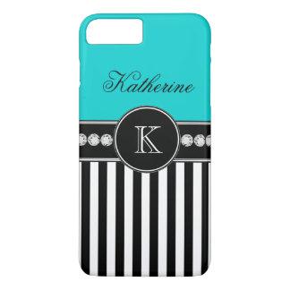 Monogram Name Aqua Black Striped Pattern iPhone 8 Plus/7 Plus Case