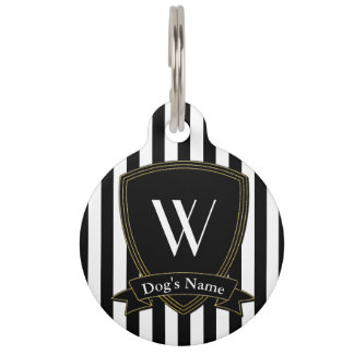 Monogram  Name Badge Black Stripe Pet Tag