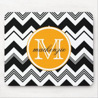 Monogram Name Black White Chevron Pattern Mouse Pad