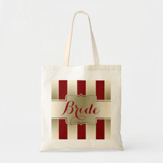 Monogram Name | Bride Glam Gold Red Glitter Effect Tote Bag