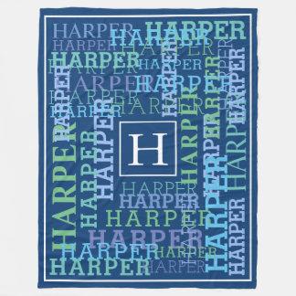 Monogram Name Cloud Blue Fleece Blanket